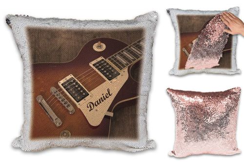 Personalised Guitar Music Rock Band Novelty Rose Gold/Silver Sequin Reveal Magic Cushion Cover